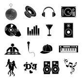 Dj music icons set — Stock Vector