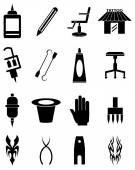 Tatoo artist icons set — Stock Vector