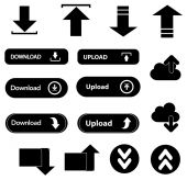 Upload download icons set — Stock Vector