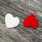 White red hearts on wooden background — Stock Photo