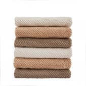 Stack of bath towels isolated over white — Stock Photo