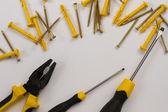Set of yellow tools — Stock Photo