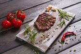 Delicious beef steak with tomato. — Stock Photo