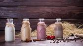 Different natural milkshakes. — Stok fotoğraf