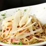 Spaghetti Carbonara in bowl — Stock Photo #56643217