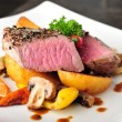 Постер, плакат: Juicy steak with baked potatoes and mushrooms