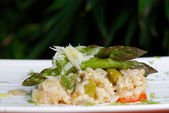 Vegetarian Risotto with asparagus — Stock Photo