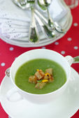 Vegetable soup with potato, broccoli, green beans and parsley — Stock Photo