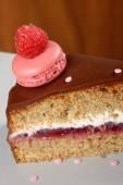 Organic buckwheat fruit cake with raspberries — Stock Photo