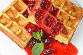 Belgian waffles with syrup and blackberries — Stock Photo