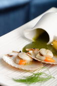 Scallop seafood appetizer with spinach sauce — Stock Photo