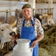 Farmer with dairy cows — Stock Photo #58353947
