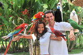 Young couple with tropical birds — Stock Photo
