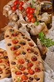 Focaccia with tomatoes — Stock Photo