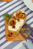 Ciabatta bread with mozzarella — Stock Photo