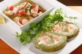 Salmon Roll with seafood salad — Stock Photo