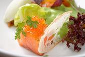Starter with salmon tartare — Stock Photo