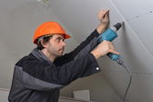 Certified electrician worker — Stock Photo
