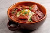Spanish tapas with potatoes and  chorizo sausage — Stock Photo