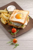 Fresh triple decker premium club sandwich — Stock Photo