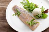 Steamed fish fillet with boiled egg — Стоковое фото