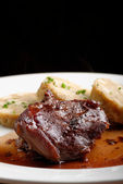 Veal fillet  and bread dumplings — Stock Photo