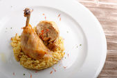 Roasted chicken leg or drumstick — Stock Photo