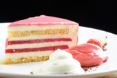 Raspberry cream cake — Stock Photo