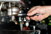 Barista making coffee — Stock Photo