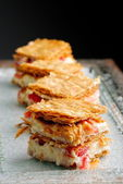 French gourmet strawberry mille feuille — Stock Photo
