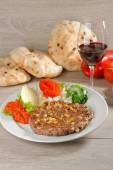 Presliced traditional burger patty called pljeskavica — Stock Photo