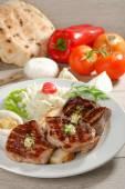 Grilled steaks on toast bread — Foto de Stock