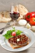 Grilled steak  on toast bread — Stock Photo