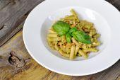 Penne Pasta with Pesto Sauce — Stock Photo