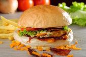 American bacon and cheese hamburger — Stock Photo