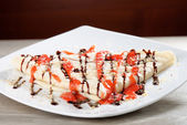 Sweet thin french style crepe — Stock Photo