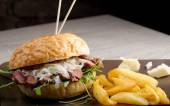 Gourmet burger with roast beef — Stok fotoğraf