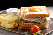 Premium club sandwich with french fries — Stock Photo