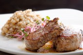 Grilled pork and buckwheat — Stock Photo