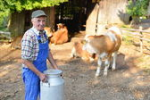 Farmer is working on the organic farm with dairy cows — Stock Photo