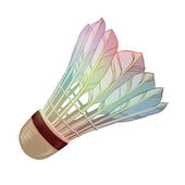 Vector illustration: feather shuttlecocks for badminton isolated on white background — Stock Vector