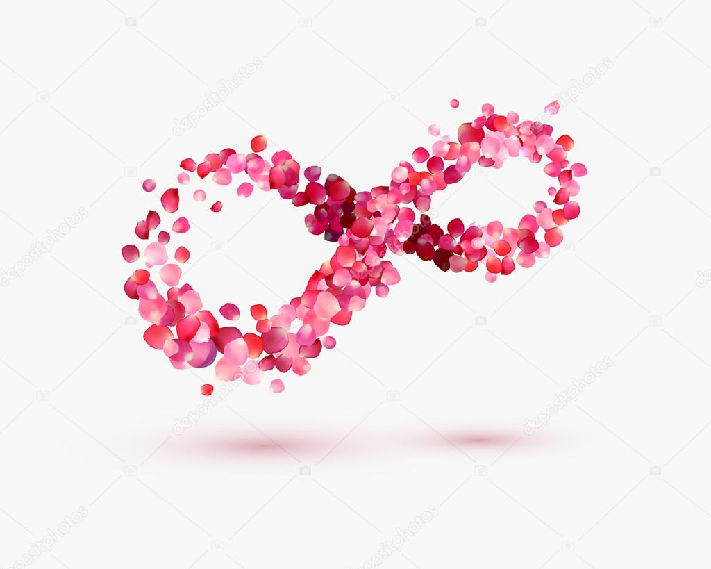 Infinity Love Symbol Of Rose Petals On A White Background