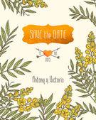 Приглашение на свадьбу «сохранить Дата» шаблон с цветами Сенна. — Cтоковый вектор