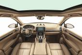 Interior of exclusive car. Beige cockpit with wood decoration on isolated white background — Stock Photo