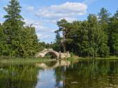 Humpbacked bridge.Gatchina — Stock Photo