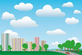 Urban and rural landscape on a sunny day — Stockvector