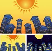 Sunny town houses — Vecteur