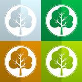 Tree flat - vector icon set — Stock Vector