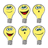Lightbulb emotions, smile vector collection or set — Stock Vector