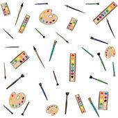 Painting instruments art pattern — Stock Vector